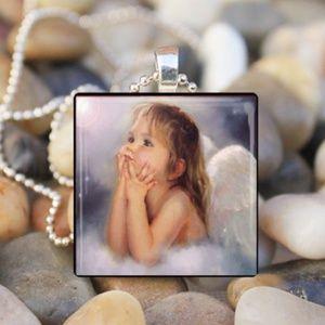 Angel Cabochon Glass Tile Pendant Necklace